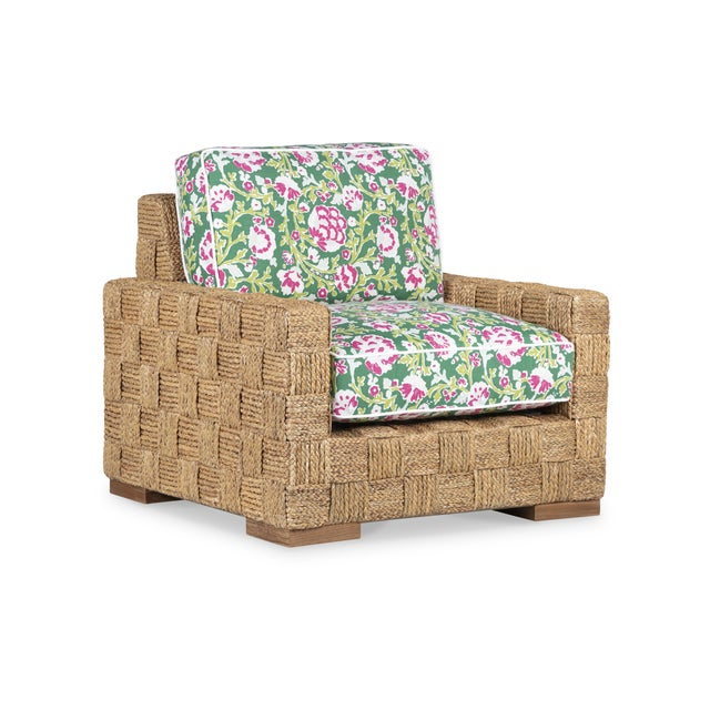 Fabric: R7507-6 - La Alameda Floral Emerald Contrasting Fabric Welt: R7287-0 Rugged Outdoor White Finish: Teak/Woven Seagrass