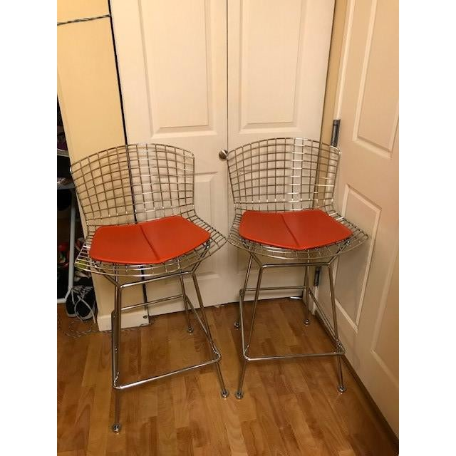 Contemporary Knoll Bertoia Chrome Bar Stools - A Pair For Sale - Image 3 of 7