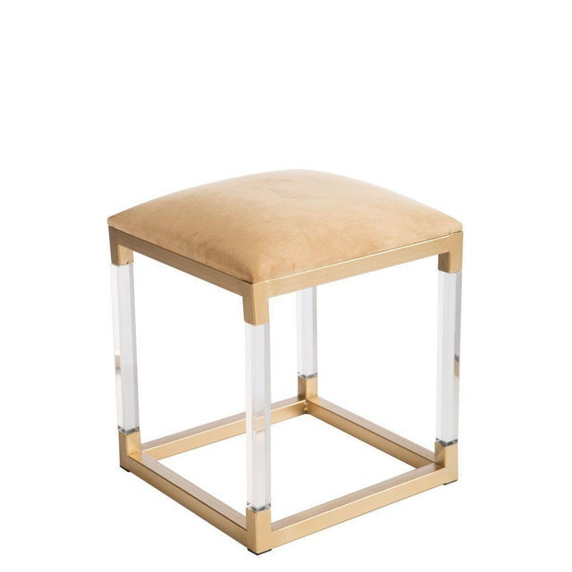 "New Acrylic stool More than 10 available Measurements: 14.5""w x 14.5""d x 17.5"" h, 7 pounds Materials: Acrylic, metal,..."