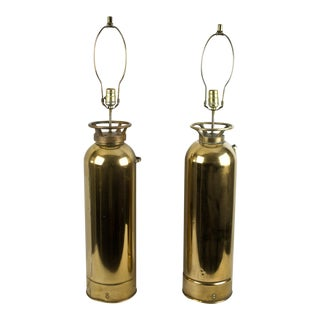 Brass Fire Extinguisher Lamps - a Pair For Sale