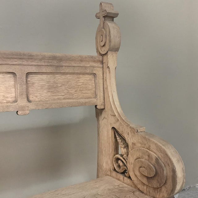 19th Century Gothic Stripped Oak Church Pew For Sale - Image 12 of 13
