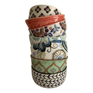 Eclectic Patterned Cottage Farmhouse Bowls, Set of Seven For Sale