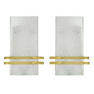 Murano Glass and Brass Sconces by Doria Leuchten - a Pair For Sale