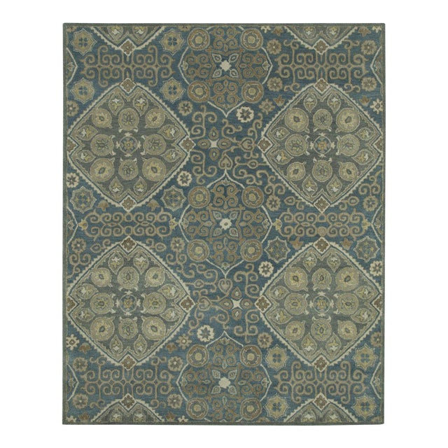 Updated Traditional Hand Tufted Geometric Green Rug - 8' X 10' For Sale