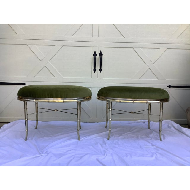 Metal Mastercraft Faux Bamboo Brass Stools, a Pair For Sale - Image 7 of 10