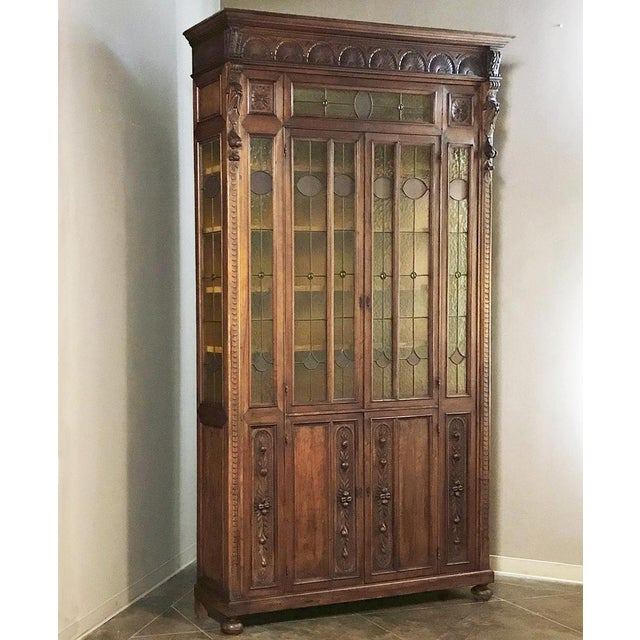 Grand 19th Century Italian Renaissance Stained Glass Bookcase For Sale - Image 13 of 13