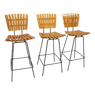 Mid-Century Danish Modern Arthur Umanoff Slat Counter/Bar Stools - Set of 3