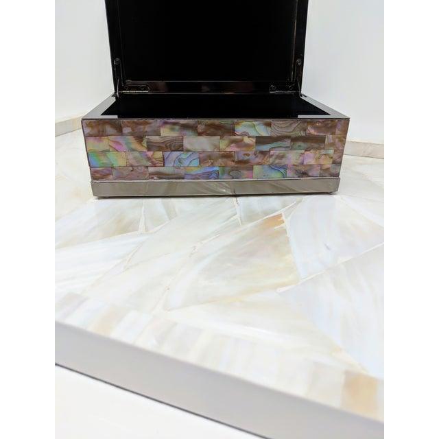 Jonathan Adler Inspired Polish Gun Metal & Abalone Shell Box For Sale - Image 12 of 12