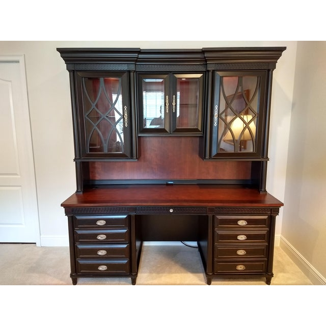 Home or Office Desk Credenza Hutch Combination - a Great Piece in Great Condition at a Great Price For Sale - Image 13 of 13