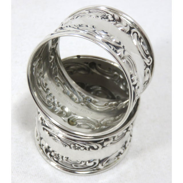 Gorham Vintage Victorian Gorham Sterling Silver Napkin Rings - a Pair For Sale - Image 4 of 12