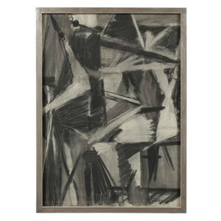 Seymour Tubis Monochromatic Cubist Abstract in Charcoal, 1950 1950 For Sale