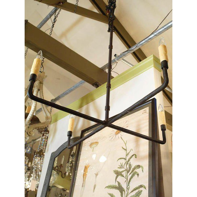 """Customizable """"Guernesy"""" Hand-Wrought Custom Iron Chandelier For Sale In Houston - Image 6 of 7"""
