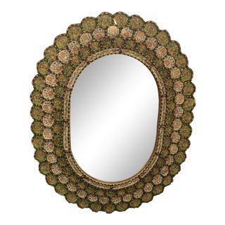 Oval Spanish Mirror With Reverse Painting on Glass Églomisé Frame For Sale