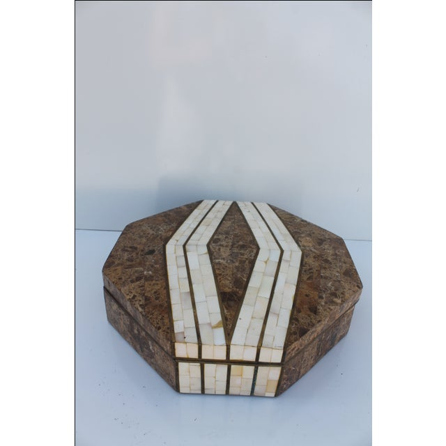 Maitland-Smith Octagonal Stone & Bone Box - Image 3 of 8