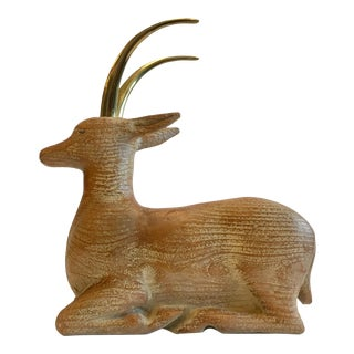 Italian Wood Carved Deer With Brass Horns For Sale