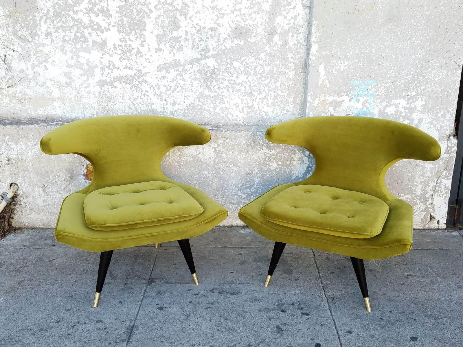 Mid Century Style Chartreuse Chairs   A Pair   Image 3 Of 8