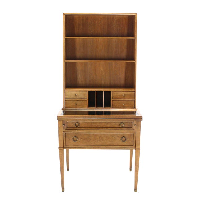 Transitional Baker Modern Petite Secretary With Bookcase on Slim Legs For Sale - Image 10 of 10