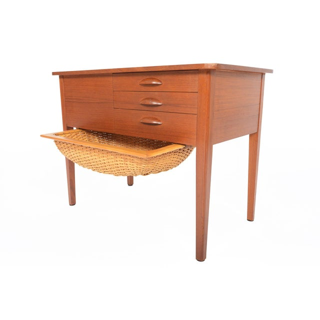 Danish Modern Teak Sewing Box With Basket For Sale - Image 9 of 10