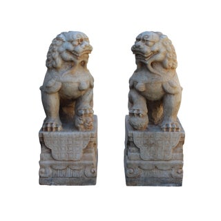 Chinese Off White Marble Stone Fengshui Foo Dogs Statues - A Pair