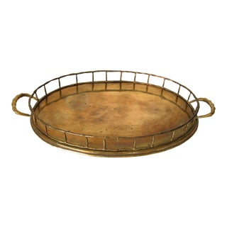 1970s Hollywood Regency Faux Bamboo Oval Brass Serving Tray For Sale