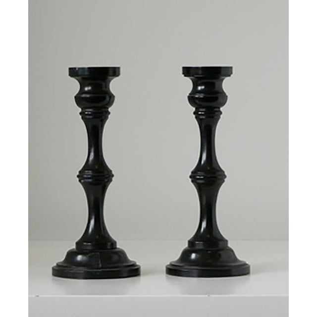 Traditional 1940s Pair of Ebony Candlesticks For Sale - Image 3 of 5