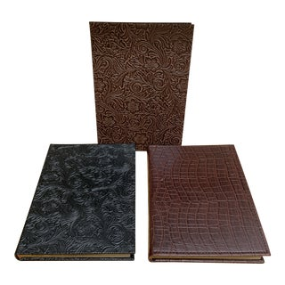 Set of Three Textured Linked Journals For Sale