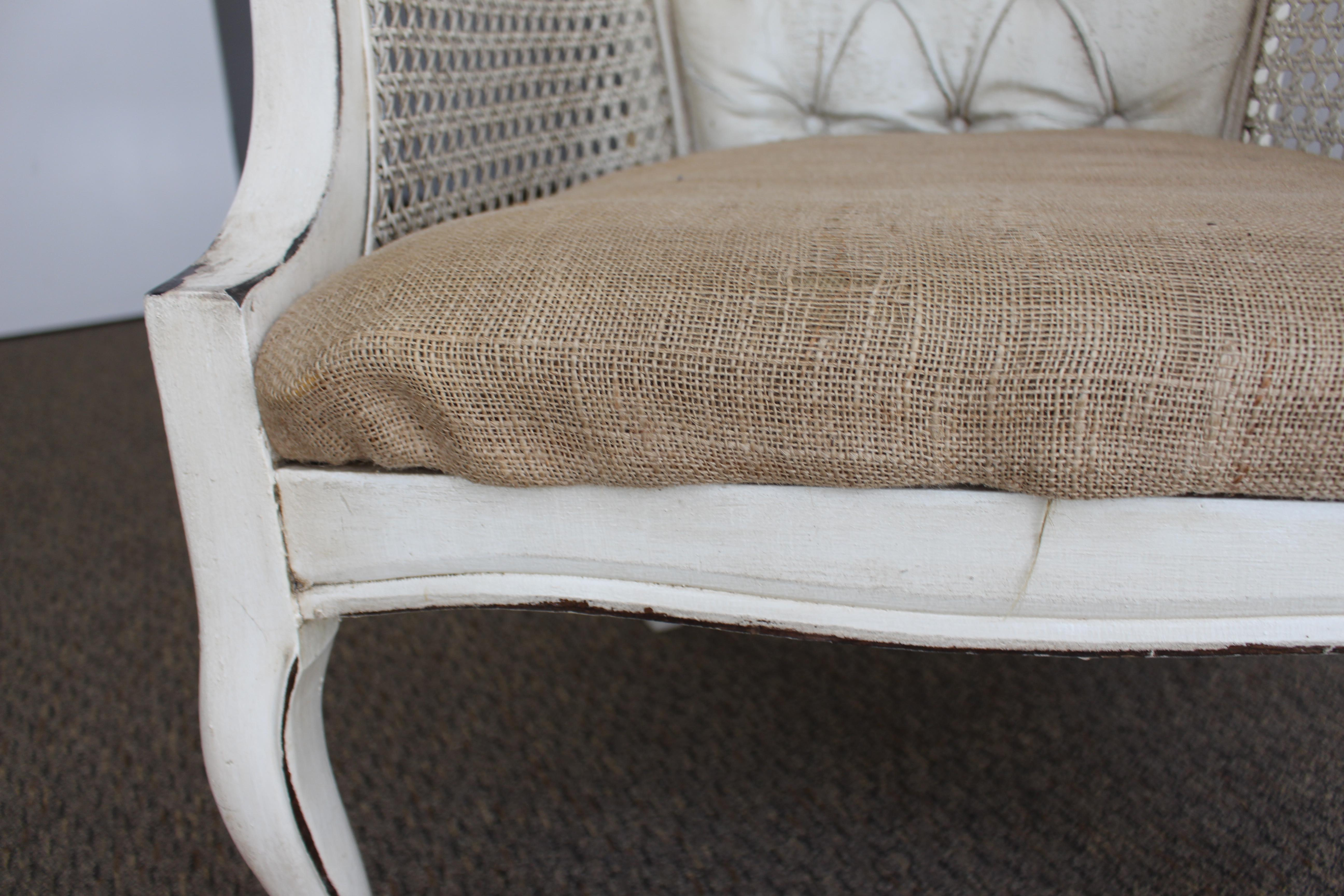Vintage Shabby Chic Caned Frame U0026 Burlap Seat Chair   Image 6 Of 11