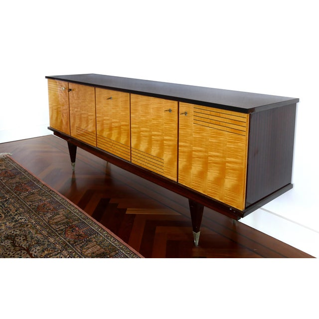 Ameublement NF mahogany and satinwood credenza with brass hardware from France A fine quality credenza made of satinwood...