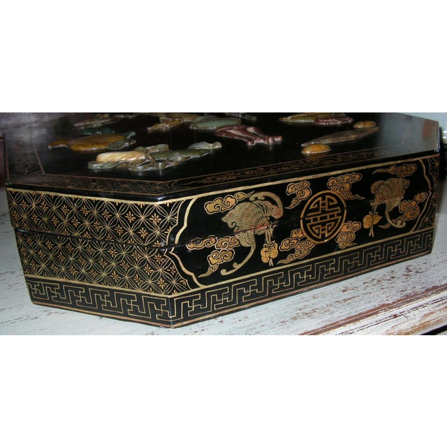 Antique Chinese Black Lacquer Hexagonal Box For Sale - Image 5 of 10