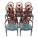 Image of Set of 10 George III Style Mahogany Dining Chairs For Sale