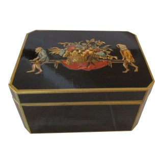 Black Lacquered Monkey Decorated Box For Sale