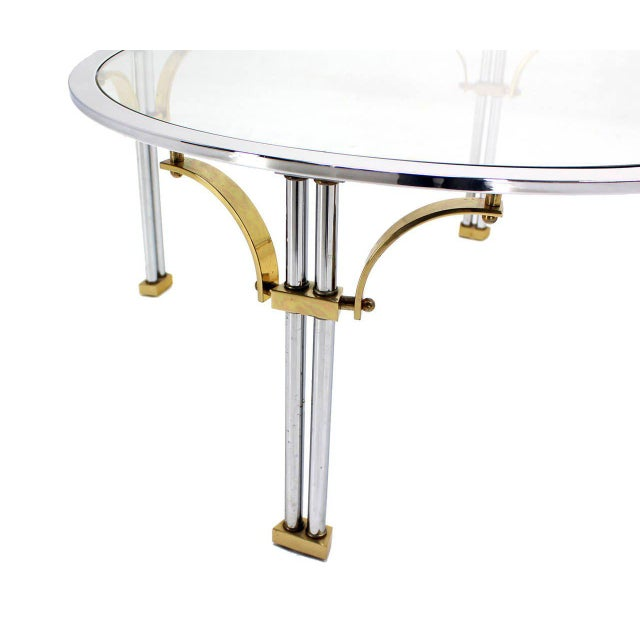 Mid-Century Modern Chrome Brass and Glass Round Coffee Table For Sale - Image 4 of 9