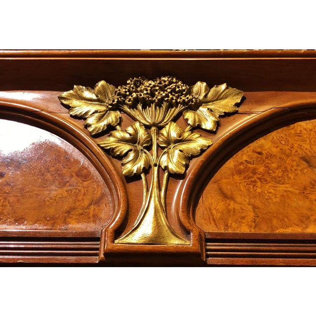 Emile Galle Antique ART NOUVEAU 19th/20th C FRENCH Walnut Satin Inlay BRONZE Mounted MIRROR ARMOIRE For Sale - Image 4 of 10