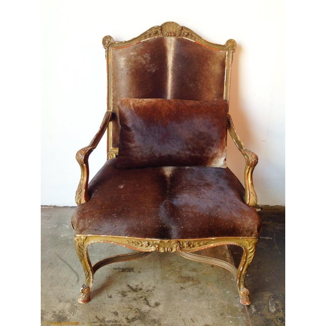 Gilded Hide Arm Chair - Image 2 of 7