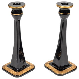 19th Century Black Glass Candlesticks With Gold Floral Decoration at Base - A Pair For Sale