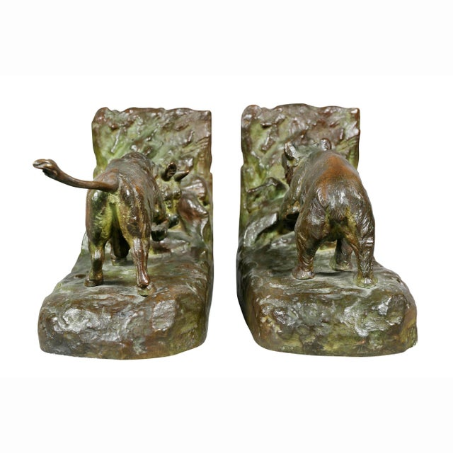 Metal Bronze Animalier Bookends Retailed by Theodore B Starr Inc. - a Pair For Sale - Image 7 of 12
