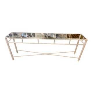 Vintage Metal Faux Bamboo Newly Powder-Coated White Indoor Outdoor Console Table For Sale