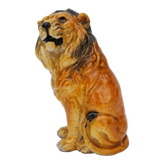 Italian Terra Cotta Glazed Lion Figurine For Sale