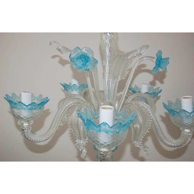 Hollywood Regency Chandelier Vintage Murano Glass Clear Blue For Sale - Image 3 of 10