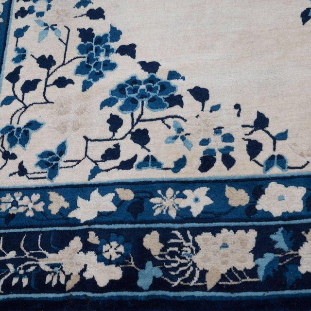 Blue Large Scale Chinese Art Deco Rug in Cream and Navy with Floral Motifs For Sale - Image 8 of 10