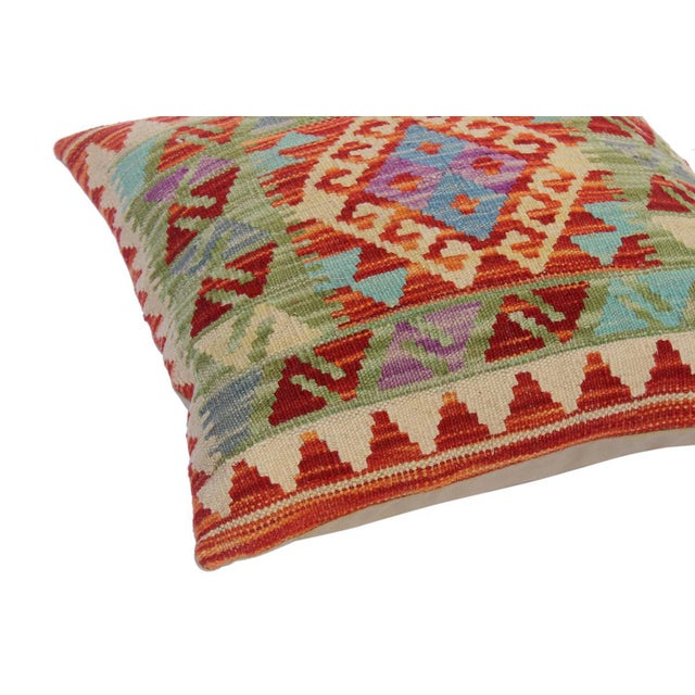 "Asian Christop Red/Ivory Hand-Woven Kilim Throw Pillow(18""x18"") For Sale - Image 3 of 6"