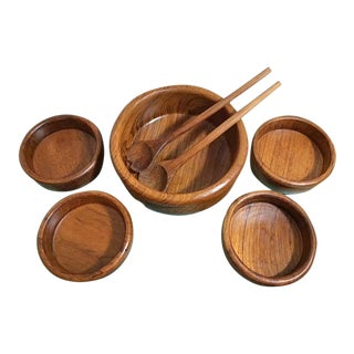 Vintage Dolphin Teak Salad Bowl Set - Set of 7