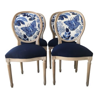 Louis XV Style Round Back Exotic Butterfly Side Chair - Set of 4