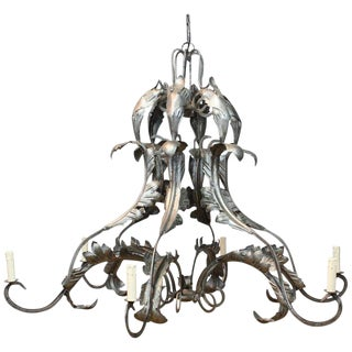 Large Wrought Steel Chandelier For Sale