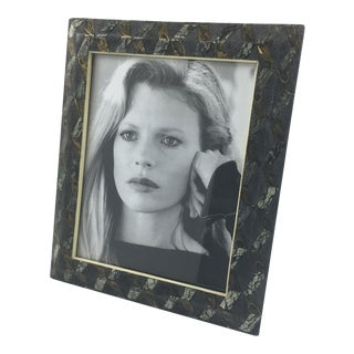 R&y Augousti Paris Shagreen Marquetry Picture Photo Frame Marble Metal Details For Sale