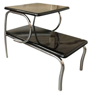 Wolfgang Hoffmann Style Art Deco Chrome and Black Micarta Side Table