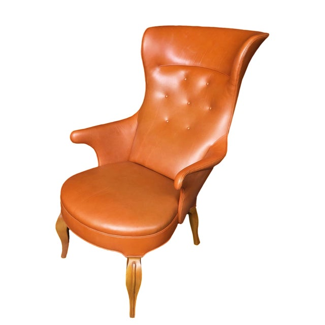 1940s Leather Wingback Armchair Attributed to Frits Henningsen For Sale