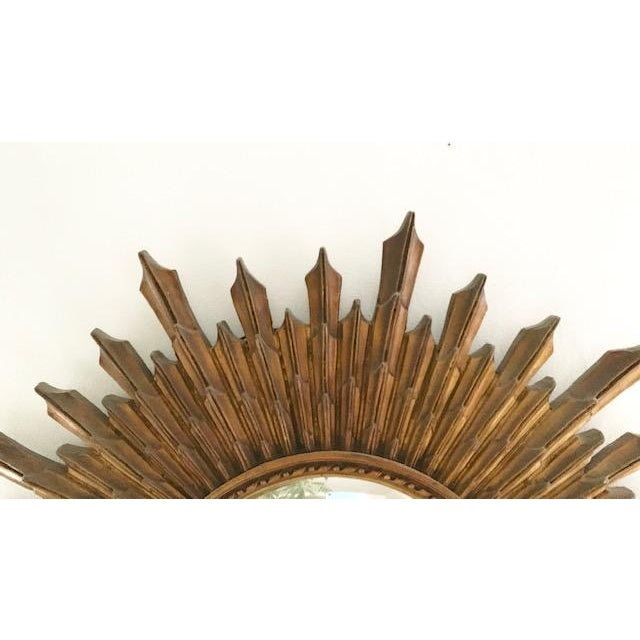 Large Antique Wood Convex, Starburst Mirror For Sale In New York - Image 6 of 8