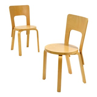 Alvar Aalto Pair of Model 66 chairs For Sale