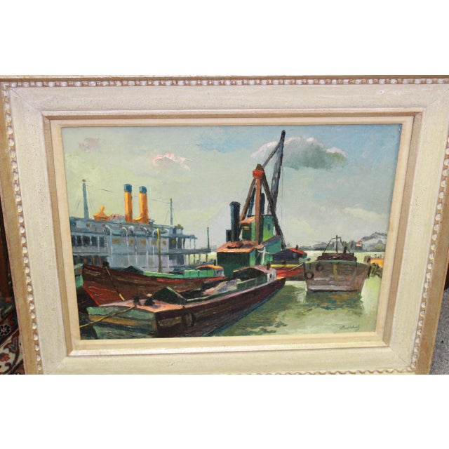 Industrial river boars scene by Frederick Buccholz. The piece was made in the early 20th century.